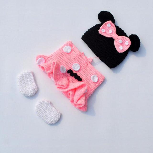 Tienda Online Recién Nacido Minnie crochet outfit bebé punto Beanie ...