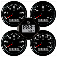 Tachometer for auto motor 52/85mm Mini Round LCD Digital red light 0 9990 RPM engine Truck Gauge 12 V 24 V Lap timer Hour meter