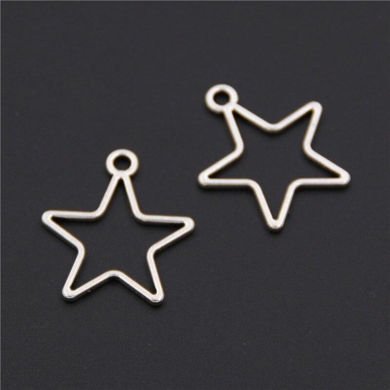 50pcs Tibetan Silver Hollow Star Charms Pendants For Jewelry Making DIY Handmade Craft  A2532