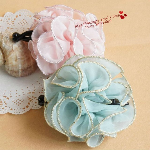 Gold & sliver chiffon flowers Harigrips/Hair accessories/Headwear.Korea shabby flower style.Free shipping.Best sellers.TTF29M03