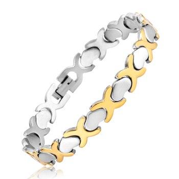 8c37f362a4e7 LUXUSTEEL de acero inoxidable brazalete y pulsera de estilo Simple DOBLE C  y en forma de corazón de oro plata Color mezclado para los hombres de las  mujeres