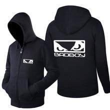 2016Spring and Autumn  Long Sleeves Hoodies Fleece MMA Badboy Bad Boy Zipper printing Casual Sweatshirts