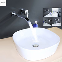 Waterfall Bathroom Faucet Wall Mounted Bathroom Basin Faucet Single Handle Mixer Tap Cold And Hot Water Chrome Brass Spout