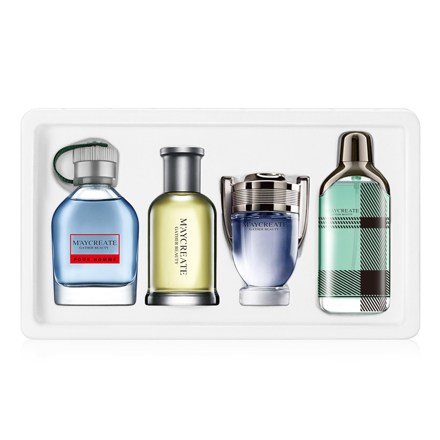 LAIKOU 1Set 4Pcs Men Perfumed Long Lasting Fragrance Mini Bottle Portable Perfumed Brand For Men Lasting Spray Glass Bottle