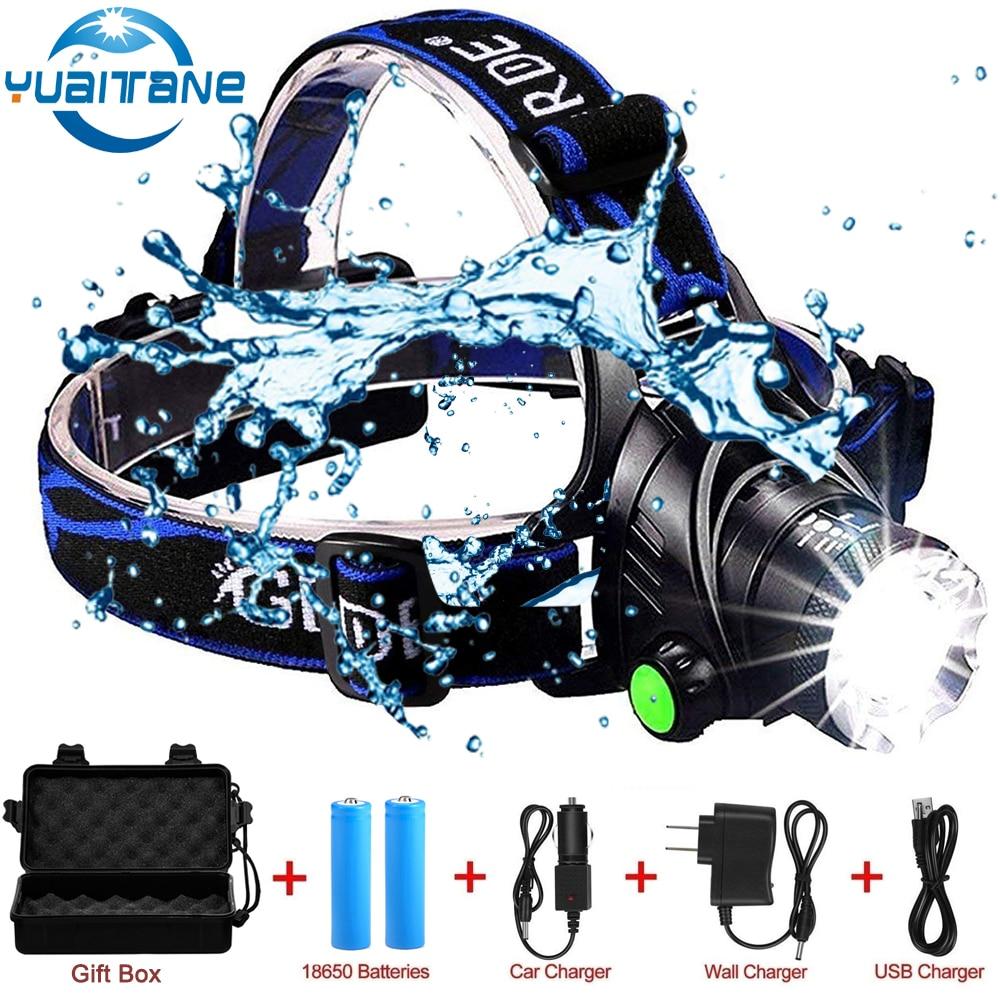 RU 10000LM Led faro L2/T6 Zoomable cabeza de la luz linterna Antorcha de la lámpara de la cabeza por batería 18650 para la pesca camping