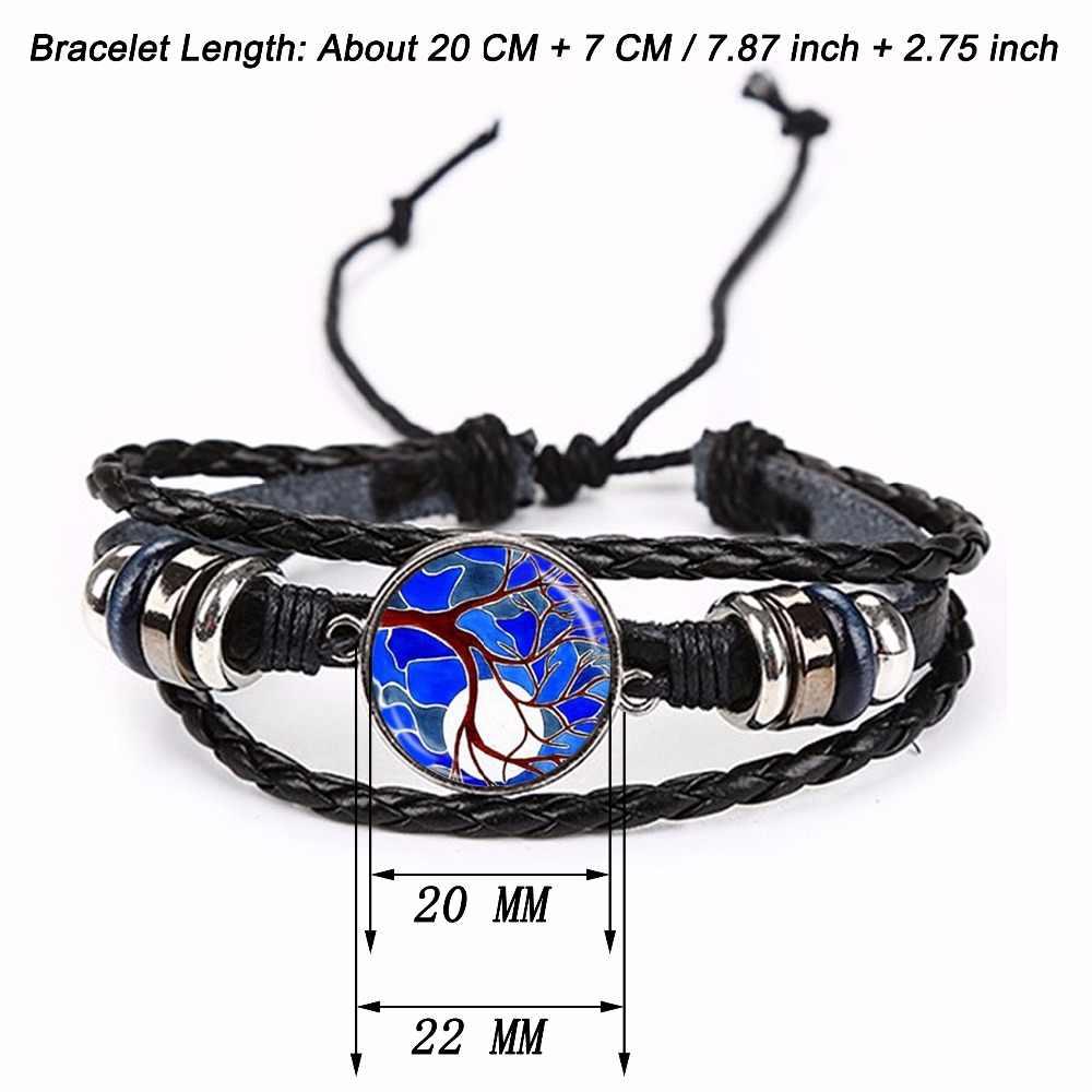 1 PC 20 ミリメートルガラスカボションポケモンボールパターンチャームブラック/ブラウン 2 色の革のブレスレットのための調節可能なバングル男性の女性のギフト
