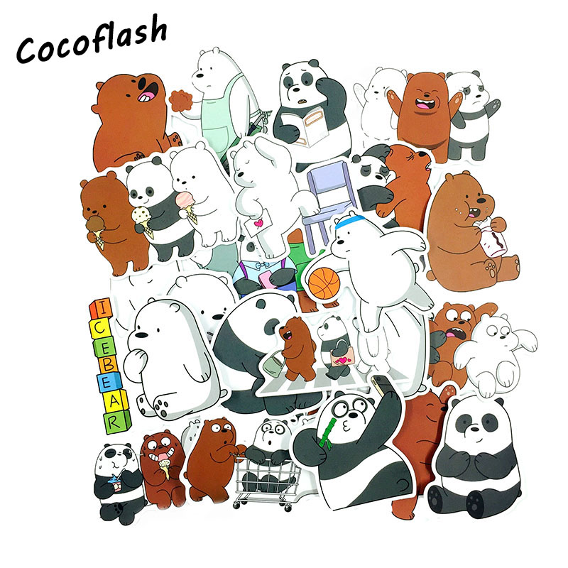 36pcs Cartoon Cute Little Brown And White Bear Sticker Toys PVC Waterproof FOR Computer Luggage Laptop Backpack Stickers Gifts