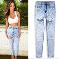 Algodón puro agujero vaqueros de las mujeres más el tamaño de estilo Europeo de alta calidad de la manera de la vendimia novio pantalones de cintura alta denim vaquero D238