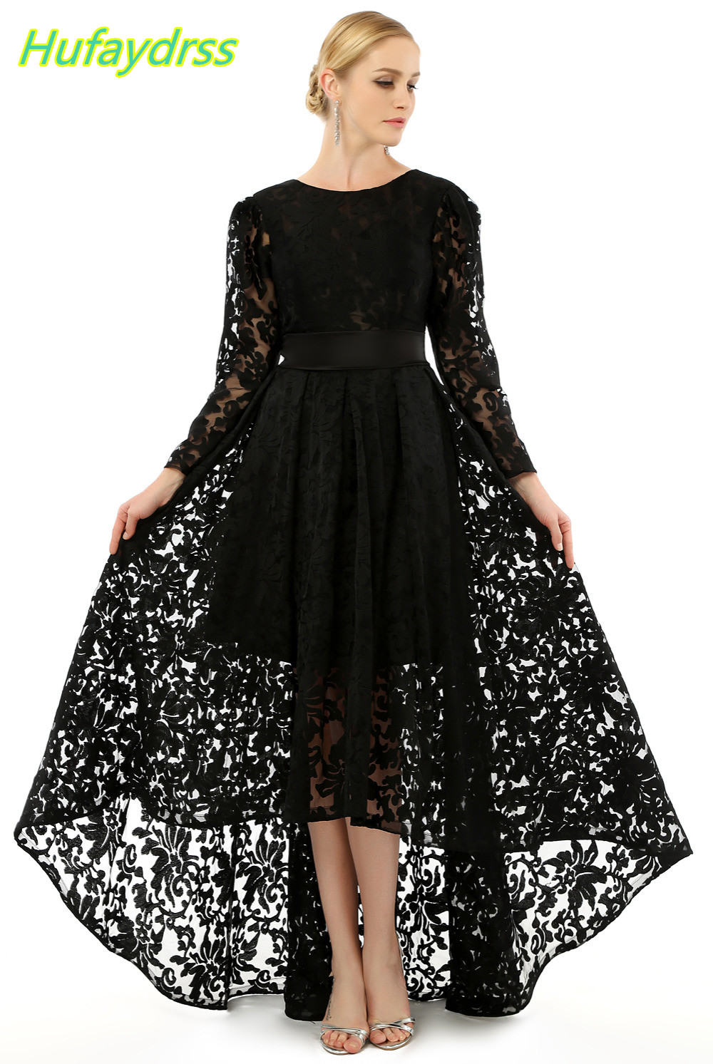 designer black lace high low with long sleeves evening