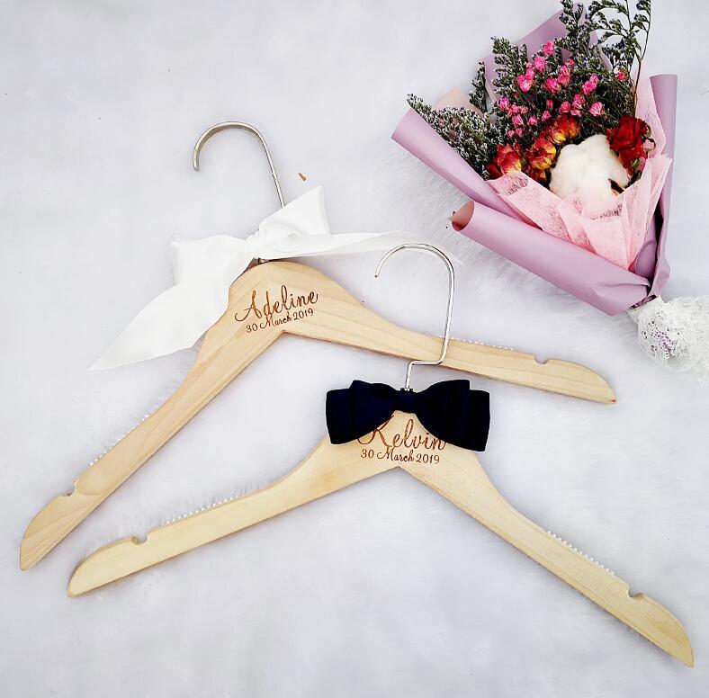 Вешалка для свадебного платья, вешалка для невесты, подарок для невесты, свадебные вечерние вешалки, Свадебные вешалки, подарки для подружки невесты - Цвет: Two Custom