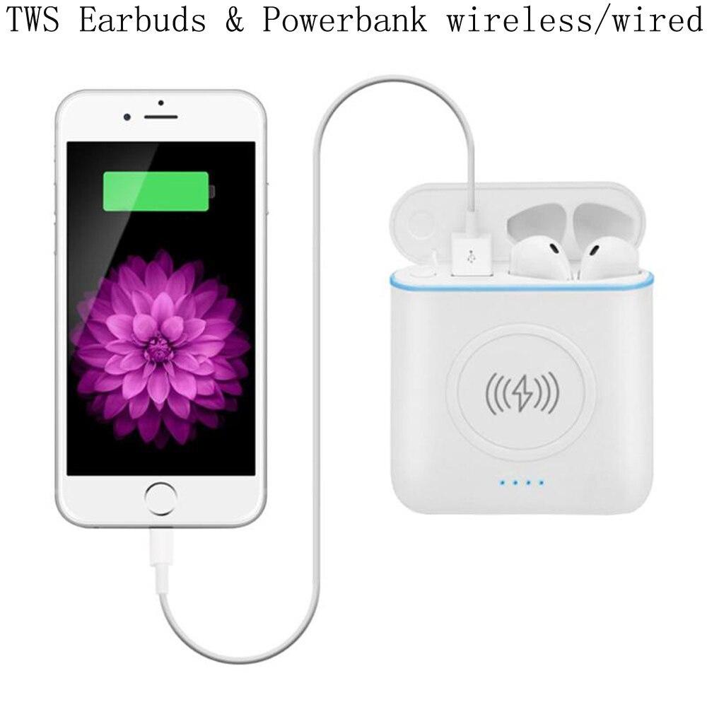 TWS 3 en 1 Bluetooth écouteurs écouteurs avec Charge sans fil et filaire Powerbank casque sans fil sport écouteurs Pk I7S I8X I9S i10