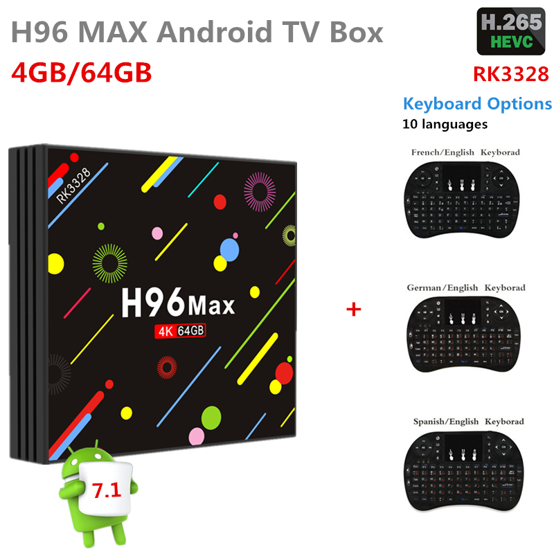 H96 Max Android TV box 7.1 RK3328 Quad Core 4G/64G WiFi 2.4G/5G Bluetooth Media Player H2 LED Screen Set Top smart tv Box