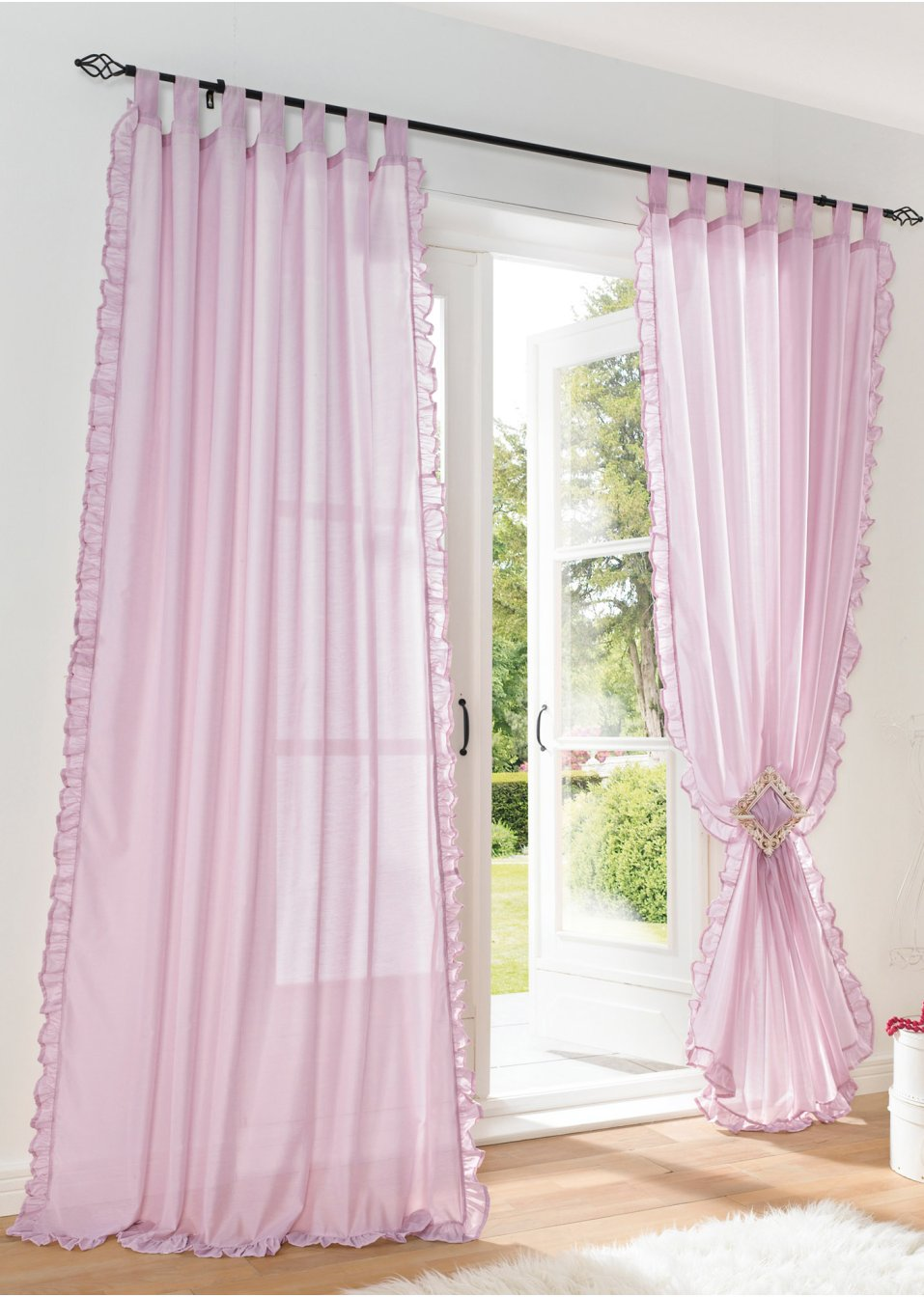Light pink ruffled curtains - 1pair Of Sheer Curtain 2pcs Beautiful Ruffles White Pink Yellow Colors Window Curtains Table