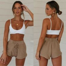 Summer Women Casual Shorts 2019 New Cotton Drawstring High Waist Solid Loose