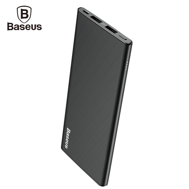 Baseus 10000mAh Power Bank For iPhone X 8 7 6 6S Ultra Thin Dual USB Powerbank For Xiaomi Mobile Phone External Battery Charger