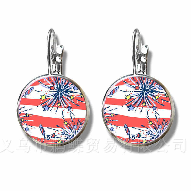The Tropical Printing Style 16mm Glass Dome Earrings Handmade Creative Gift Classic Silver Plated Earrings For Friends LILLY