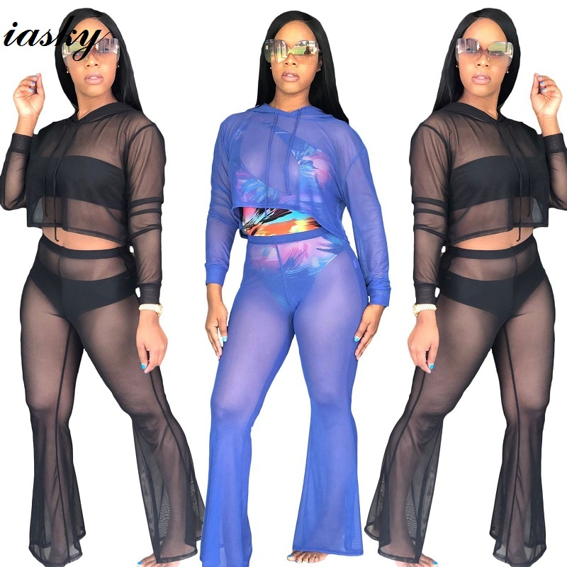17c67a44b0 IASKY 2pcs  Set Women Bkini Cover Ups 2018 Sexy Perspective Swimsuit  Swimwear Bathing Suit Cover Up