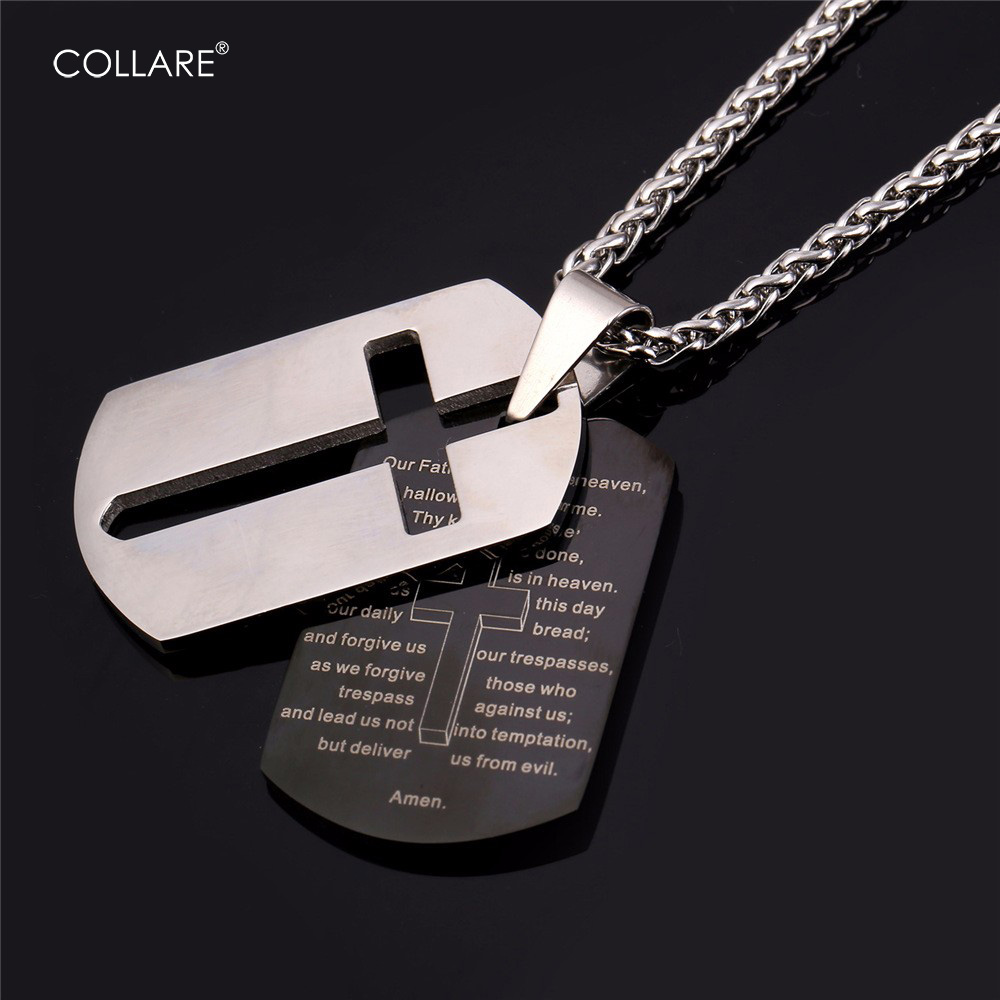 Collare Bible Lords Prayer Cross Pendants 316L Stainless Steel Dog Tag Necklaces Gold Color Scripturoe Men Jewelry P509
