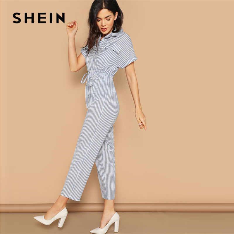 SHEIN синий полосатый Повседневный лоскут карман спереди шнурок талии рубашка комбинезон для женщин весна Высокая талия хлопок макси конический комбинезон