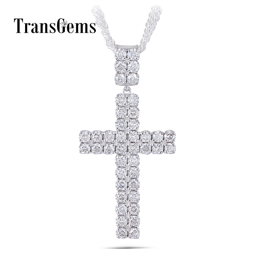 Transgems Cross Shaped Pendant Necklace for Men Platinum Plated Silver Clear H Color Moissanite Men Cross Necklace цена