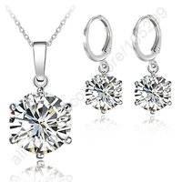 JEXXI Wedding Jewelry Sets 925 Sterling Silver 6 Claw Cubic Zircon Crystal Pendant Necklaces Lever Back Earring Engagement Set