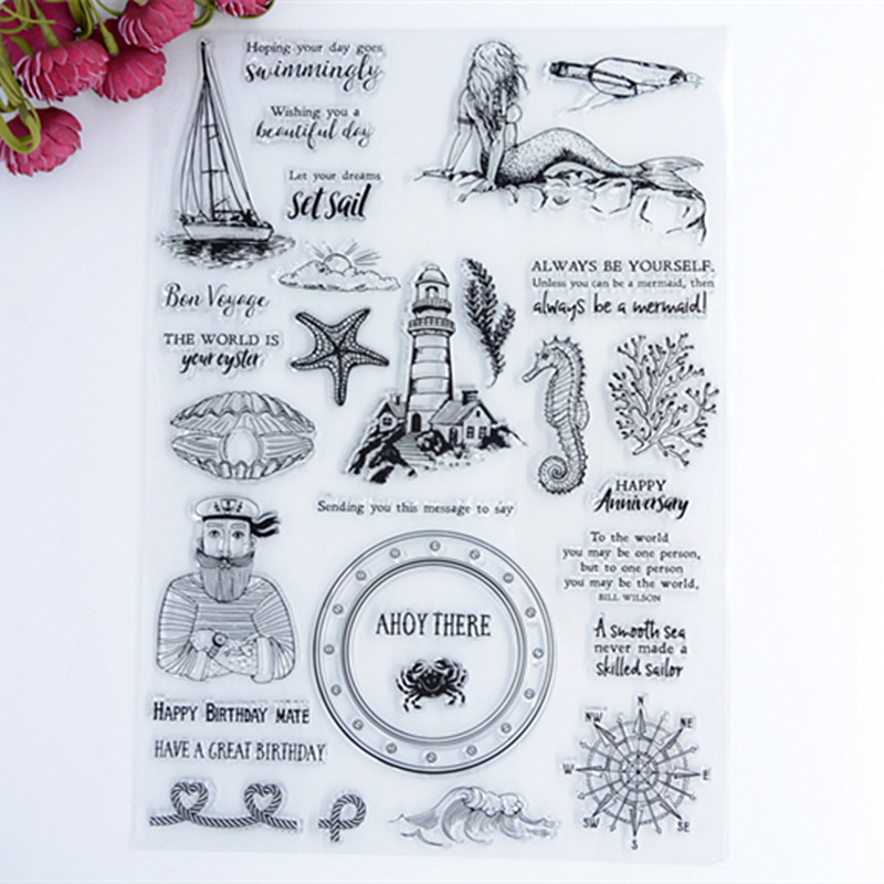 Scrapbook DIY Photo Album Account Transparent Silicone Rubber Clear Stamps 20x28.5cm Big size Always be a Mermaid Birthday Mate lovely animals and ballon design transparent clear silicone stamp for diy scrapbooking photo album clear stamp cl 278
