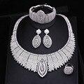 Chapado En Oro Blanco de lujo Elegante Forma Nupcial CZ Diamante Pulsera Del Anillo Aretes Collar de La Boda Conjuntos Para Las Mujeres