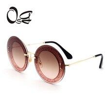 OSG 2017 Retro Round Sunglasses Women Brand Designer Sun Glasses For Women's Alloy Mirror Sunglasses ray female oculos de sol