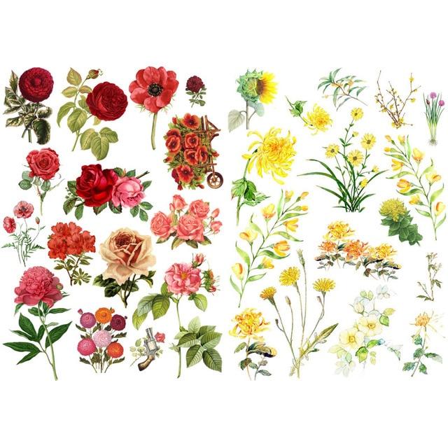 1 PCS Red Rose Chrysanthemum Decoration Handmade Mini Calendar Album Aganda Stickers House of Novelty Mohamm Scapbook Sticker