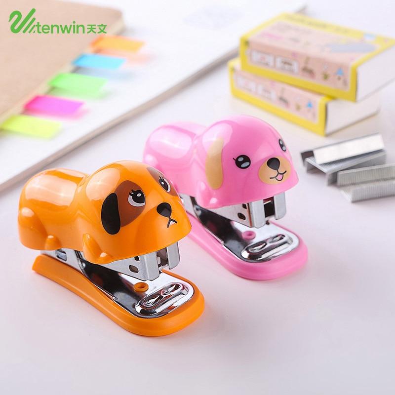 Cute Mini Paper Stapler Set With Staple Kawaii Cartoon Panda Dog Staplers Office School Binding Supplies Stationery