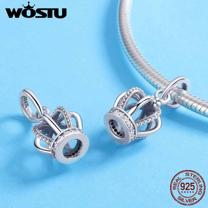 Wostu 925 Sterling Zilveren Kroon Prinses Clear Cz Bedels Fit Originele Vrouwen Armband Mode-sieraden CQC781