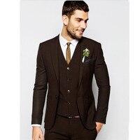 Feitos Desgaste Noivo Dos Homens Ternos de Casamento 3 Peça Formal Dinner Party Ternos Blazers ternos de Dois Botões dos homens (jaqueta + calça + Colete)
