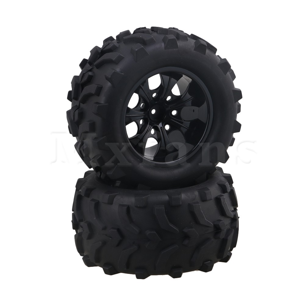 Mxfans 12mm Hex Black Nylon Wheel Rims + Arm Pattern Rubber Tyre Tire for RC1:10 Largefoot Car Pack of 2