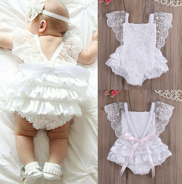 New Cute Newborn Infant Baby Girl Summer Cotton Clothes Lace Ruffles Bodysuit Sunsuit Outfits Clothes
