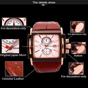Image 3 - BOAMIGO relojes de cuarzo cuadrado para hombre, reloj deportivo informal de moda con esfera grande, Agua De Oro Rosa [roof Cock Leather, relojes de pulsera informales para hombre