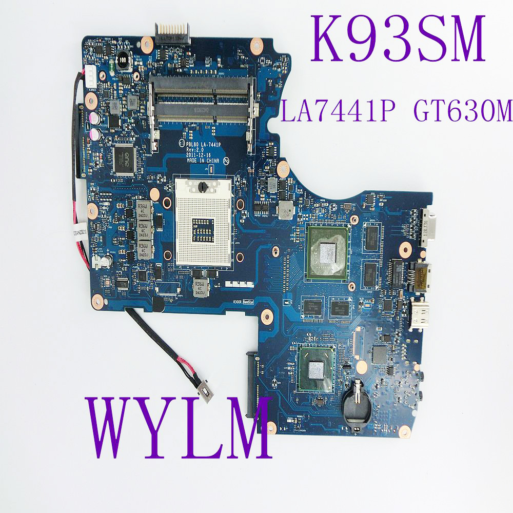 K93SM LA-7441P GT630M N13P-GL2-A1 Motherboard REV 2.0 USB 3.0 For ASUS K93SM X93S X93SM K93SV Laptop mainboard Fully Tested for asus n56vj gt635 2gb rev 2 3 graphic n13p gl a1 laptop motherboard fully tested