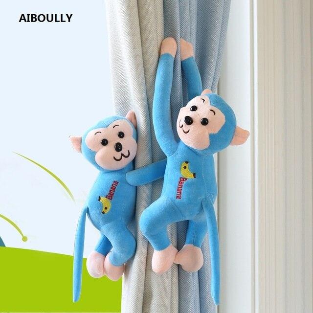 2 יח'\סט קריקטורה קוף וילון אבזם Windows וילון ממולא בובה בפלאש צעצועים יפה בעלי החיים קישוט וילון אביזרים