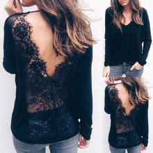 New Fashion Summer Tops Arrivals Sexy V-neck Open Back Lace Womens V-Long Sleeve Shirt