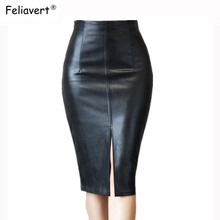 Feliavert 2019 PU Leather Skirts Spring Autumn Summer Sexy Split High Waist Skirt Women Elegant Knee Length Pencil S~4XL