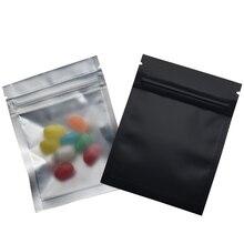 7.5*10cm Matte Clear Front Zip Lock Mylar Plastic Package Bag 100 Pieces/lot Reclosable Black Aluminum Foil Packaging