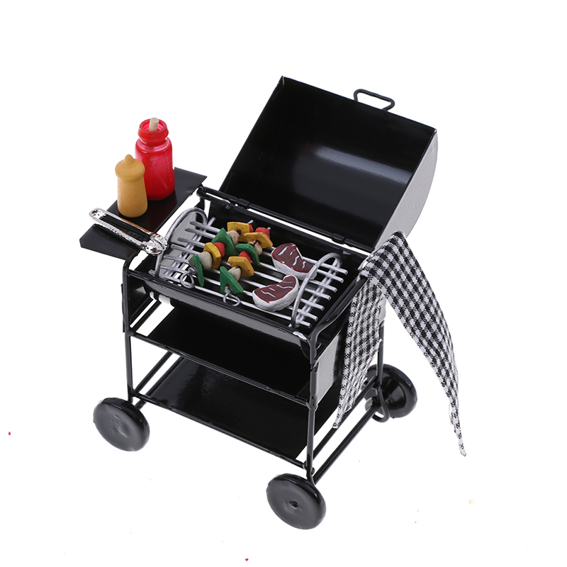 Benoon Dollhouse Decoration Accessories Doll House Miniature Furniture and D/écor,1//12 Dollhouse Miniature Metal Barbeque BBQ Roasting Oven Picnic Accessories Round