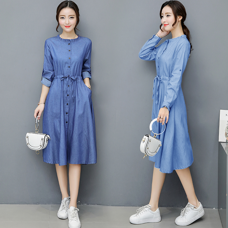 2018 Spring and Autumn waist denim dress women Slim single-breasted long-sleeved round neck casual jeans dress female