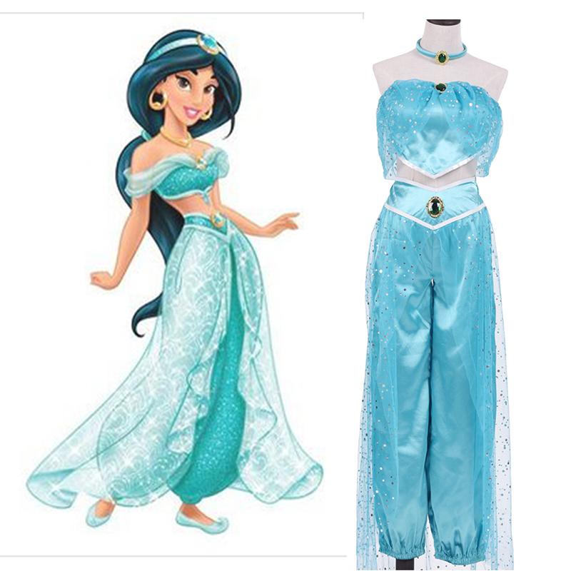 2017 New High Quality Adult Women Girl Children Anime Aladdin Princess Jasmine Cosplay Costume Clothing Halloween Fancy Dress