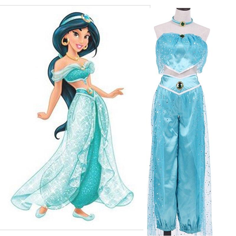 2017 New High Quality Adult Women Girl Children Anime Aladdin Princess Jasmine Cosplay Costume Clothing Halloween Fancy Dress