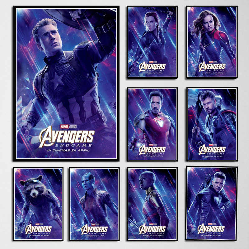 Poster Prints Avengers Endgame Character Iron Man Thor Captain America Marvel Movie Art Wall Pictures For Living Room Home Decor