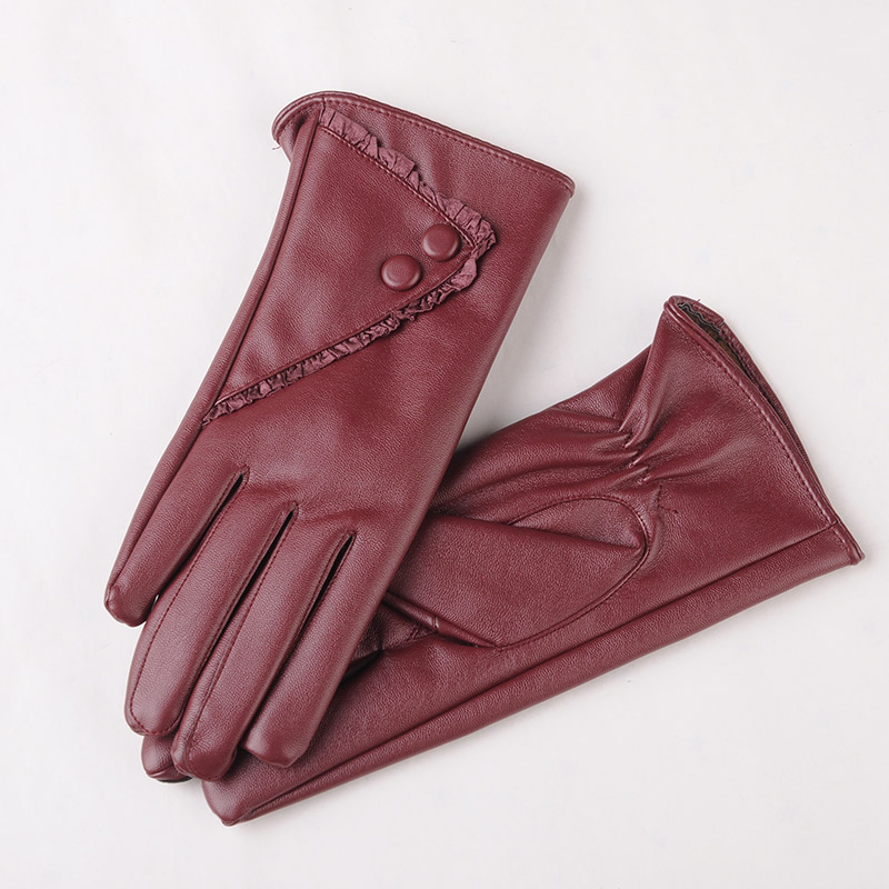 Image BEIJIGUANG Warm Leather Gloves Women Winter Soft 360 Degree Full Palm Coral Velvet Lace Decoration Touch Screen Gloves