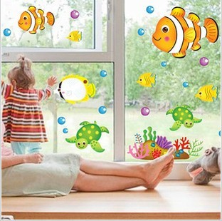 Three generations of the fish cartoon wall stickers child real bathroom baby sticker