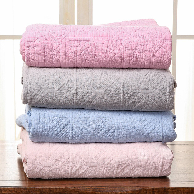 CHAUSUB Korea Style Quality Coverlet Quilt 1PC Sand Washed Cotton Quilts  Embroidered Quilted Bedspread Bed Cover
