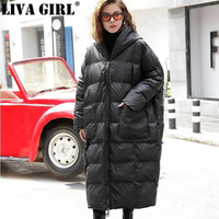 LIVA GIRL 2018 New Winter Hooded Long Sleeve Solid Color Black Cotton padded Warm Loose Big Size Jacke Women Fashion Tide
