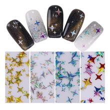 NICOLE DIARY Holographic Nail Sequins Gold Silver Four Angle Stars Laser Multi-size Nail Art 3D Decoration 1 Box